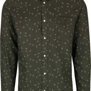 Tmavě zelená slim fit vzorovaná košile Selected Homme One Karl