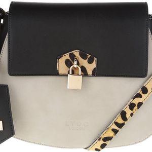 Béžovo-černá menší crossbody kabelka s detaily s leopardím vzorem LYDC