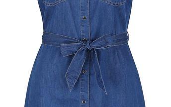 Modré džínové propínací šaty s páskem Dorothy Perkins