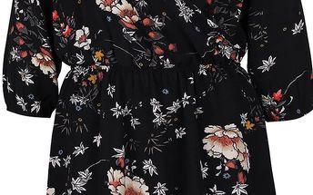 Černé květované šaty s překládaným dekoltem ONLY Mallory