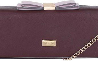 Vínová menší kabelka/psaníčko s detaily ve zlaté barvě LYDC