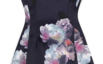 Tmavě modré šaty s květy v pastelových barvách AX Paris