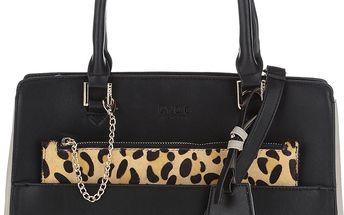 Černá kabelka s leopardím vzorem a detaily ve zlaté barvě LYDC