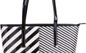 Černo-bílý pruhovaný shopper LYDC