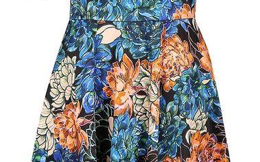 Oranžovo-modré květované šaty se stojáčkem Closet