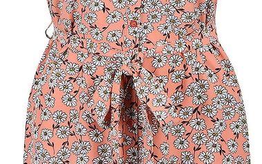 Meruňkové květinové šaty se stuhou kolem pasu Dorothy Perkins