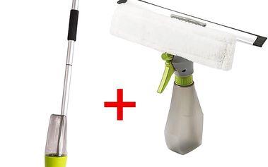 Úklidová sada mopu a stěrky na okno s dávkovačem pro rychlý úklid