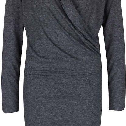 Šedé žíhané šaty s krajkovými detaily PEP Flame