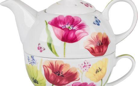 Porcelánová čajová souprava bílé konvičky a šálku s dekorem rozkvetlých tulipánů