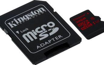 Pamětová karta microSDHC Kingston MicroSDHC 32GB UHS-1 CL3 + adaptér