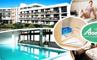 Wellness pobyt ve věhlasných Luhačovicích v 3* hotelu Adamantinopro 2 osoby na 3 - 6 dní. Čeká vás ubytování v útulných pokojích, polopenze, relaxační procedury - whirlpool, sauna, relaxační masáž, neomezeně vstup do vnitřního vyhřívaného bazénu s relaxa