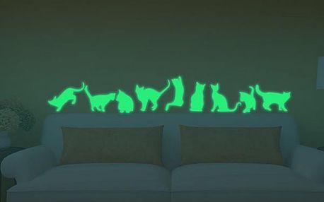 Svítící samolepka na zeď - Kočičky