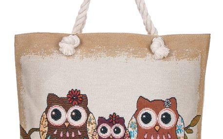 Fashion Icon taška Sweet HOME se sovičkami lněná