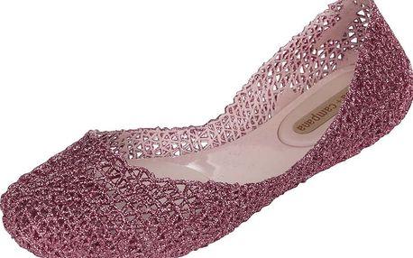 Růžové třpytivé baleríny Melissa Campana Papel