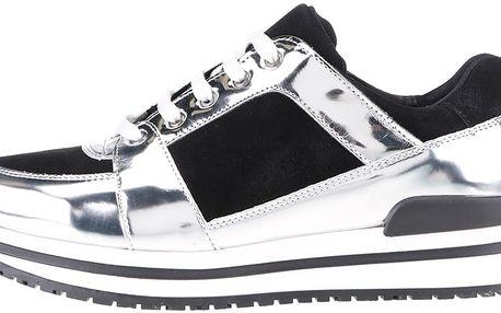 Lesklé semišové tenisky s detaily ve stříbrné barvě OJJU Minor