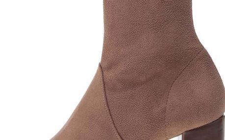 Hnědé kotníkové boty na podpatku v semišové úpravě OJJU