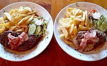 300gramové steaky dle výběru a přílohy