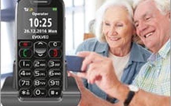 Elegantní mobilní telefon EVOLVEO pro seniory jen za 699 Kč! Součástí balení je i praktický nabíjecí stojánek!