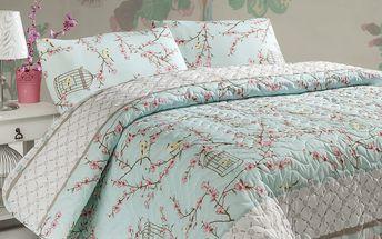 Sada přehozu přes postel a polštářů Birdcage Tyrkys, 200x220 cm