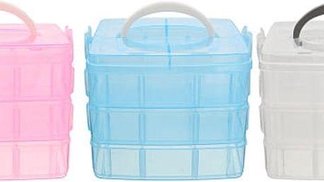 Plastový úložný box na šperky nebo korálky ve třech vrstvách - 3 barvy