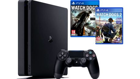 PlayStation 4 Slim, 1TB, černá + Watch Dogs + Watch Dogs 2 - PS719890454