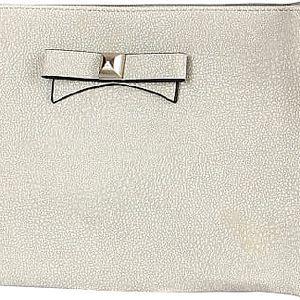 Větší psaníčko/malá kabelka s mašlí šedá