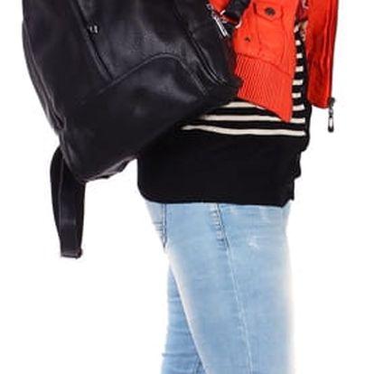 Koženková dámská bunda s límečkem červená