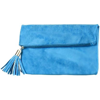 Obdélníkové psaníčko se střapcem modrá