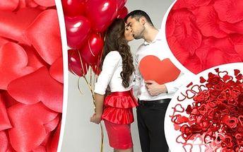 Nafukovací balónky růžové ve tvaru srdce, valentýnské konfety, okvětní lísky ve tvaru růže nebo srdce. Poštovné zdarma. Připravte se na svátek zamilovaných, na Valentýna. Co takhle balónky ve tvaru srdce jako překvapení.