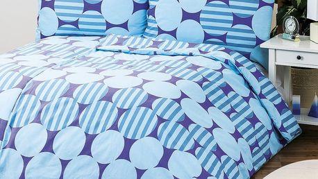 1+1 Povlečení Helen modrá, 140 x 200 cm, 70 x 90 cm