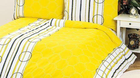 1+1 povlečení Clarissa žlutá, 140 x 200 cm, 70 x 90 cm