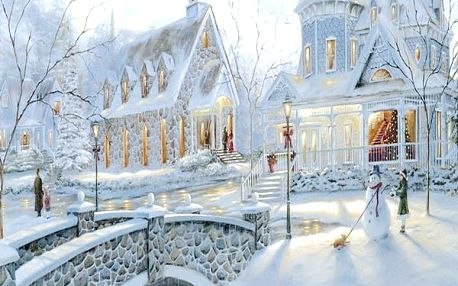 5D obraz 45 x 40 cm - Zimní městečko