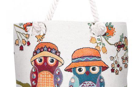 Fashion Icon Dámská taška Sovičky v čepíčkách lněná