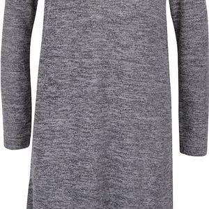 Tmavě šedá žíhaná asymetrická tunika s dlouhým rukávem ONLY Elva