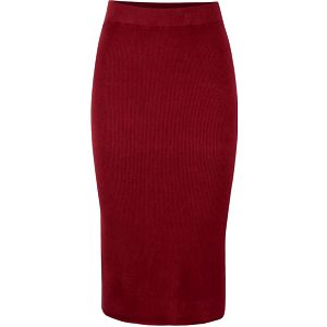 Cihlová midi žebrovaná sukně s rozparkem Vero Moda Glory