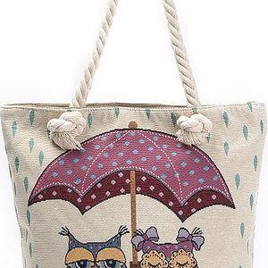 Fashion Icon taška Sovy pod deštníkem lněná