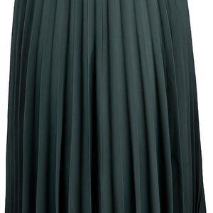 Tmavě zelená plisovaná midi sukně Miss Selfridge