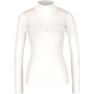 Krémové žebrované tričko s průsvitným dekoltem Miss Selfridge