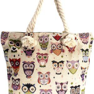 Fashion Icon Dámská taška Mimi owls se sovičkami lněná textil přes rameno Retro velká 32