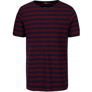 Vínovo-modré pruhované triko Selected Homme New structured
