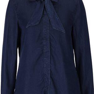 Tmavě modrá halenka s mašlí Vero Moda Nanna