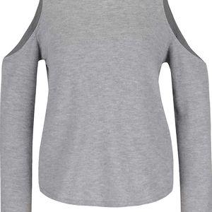 Šedé tričko s průstřihy na ramenou Miss Selfridge