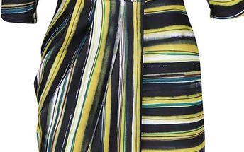 Žluto-zelené pruhované šaty s překládaným výstřihem a 3/4 rukávem Closet