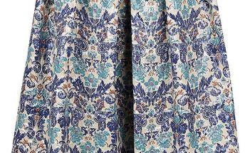 Krémovo-modrá lesklá vzorovaná midi sukně Closet