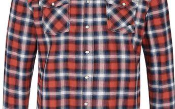Modro-oranžová kostkovaná slim fit košile Blend