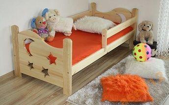 Dětská postýlka z kvalitního masivu borovice včetně matrace a roštu, 160x70 či 180x80 cm