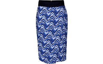 Šedo-modrá překládaná sukně se vzorem Closet