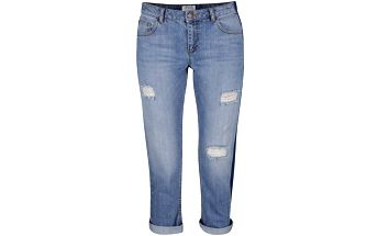 Modré osminkové džíny s potrhaným efektem a tmavým bočním pruhem Miss Selfridge