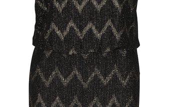 Černé šaty se vzorem ve zlaté barvě ONLY Ziva