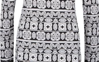 Krémovo-černé vzorované šaty s detailem ve stříbrné barvě ONLY Olympus